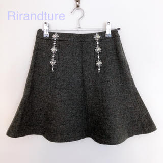 Rirandture - 超美品 リランドチュール フラワービジュー付フレアウールスカート