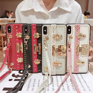 白ピンク iPhone11ケース ショルダー付き