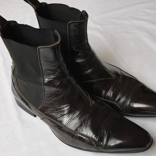 エポカ(EPOCA)のエポカウォモサイドゴアブーツ◆パープル色パテントビジネスショートブーツ靴(ブーツ)