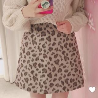 heather - 今季 Heather ヒョウガラキモウスカート 台形スカート ミニスカート
