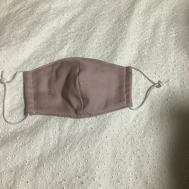 マスク 3ply / ●ハンドメイド● 立体マスク(11) ピンク地ゴールドリボン柄×白色ゴム 女性用の通販