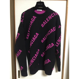 Balenciaga - バレンシアガ ♡ ロゴ ニット セーター クルーネック ピンクロゴ xs