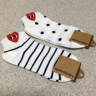 コムデギャルソン(COMME des GARCONS)の韓国で購入 ハート ボーダー 水玉 ドット 靴下 2足セット コムデギャルソン(ソックス)