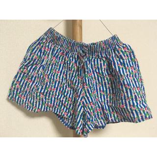 西松屋 - 花柄 ショートパンツ ブルー 青×白 中央リボン ポケット /徳おまとめ割