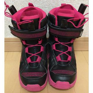 子供用 スノーボード ブーツ 18cm ピンク ブラック ビンディング(ブーツ)