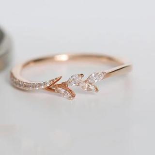11号ローズゴールド!リーフクリスタルAAA級CZダイヤモンド/エタニティリング(リング(指輪))