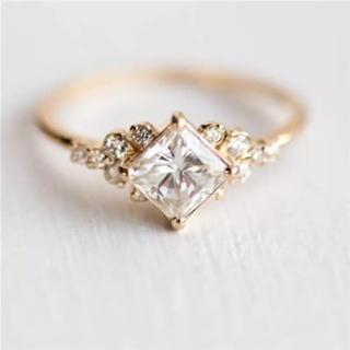11号AAAスクエアストーンCZダイヤモンドチャームリング  (リング(指輪))