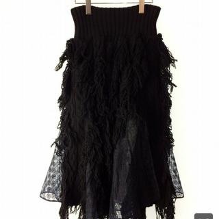 sacai - sacai フリンジニットスカート 黒