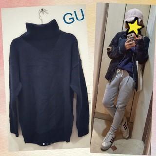 GU - GU ニット ネイビー 紺 タートルネック ニット セーター ゆったり