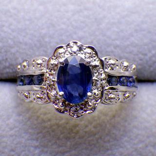 美品   ブルーサファイア 1.10ctダイヤ  PT900 リング 11.5号(リング(指輪))