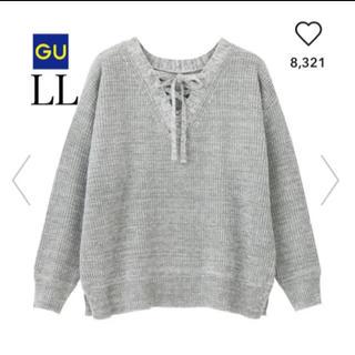 GU - 美品 GU レースアップセーター ニット グレー LL 大きいサイズ