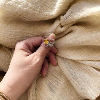 SALE:日々の疲れをヒーリング:イエロースクエアリボン結び風デザインリング(リング(指輪))