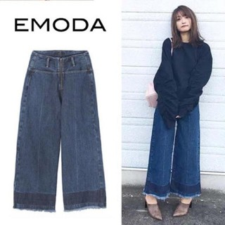 EMODA - EMODA エモダ デニム ジップ ワイドクロップドパンツ S
