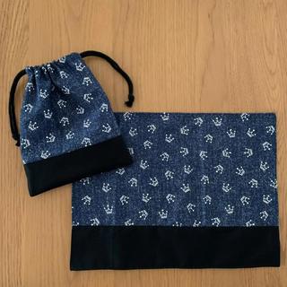 ランチョン/コップ袋☆黒王冠柄(外出用品)