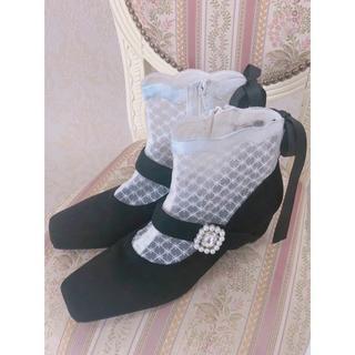 Swankiss - 新品未使用★SWANKISS★EV lace bijou boots★ブーツ★黒