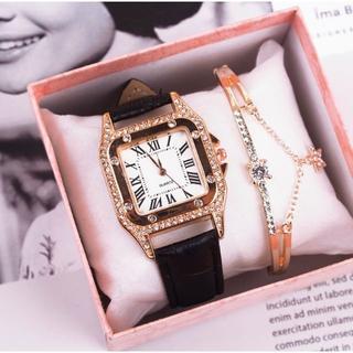 レディース 腕時計 スターブレスレット付 ブラック(腕時計)