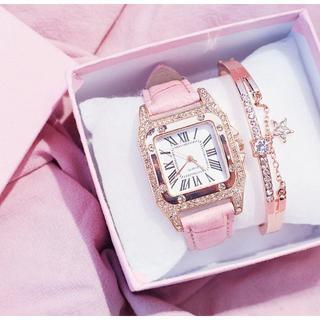 レディース 腕時計 スターブレスレット付 ピンク(腕時計)
