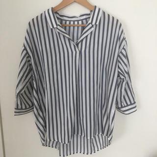 ジーユー(GU)のGU ストライプシャツ オープンカラーシャツ 7部袖(シャツ/ブラウス(半袖/袖なし))