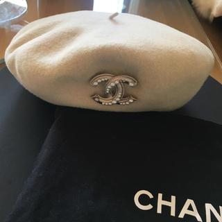 CHANEL - シャネルホワイトアイボリーベレー帽