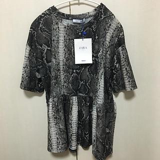 ZARA - ZARA カットソー Tシャツ 半袖 裾フリル パイソン柄ブラウス