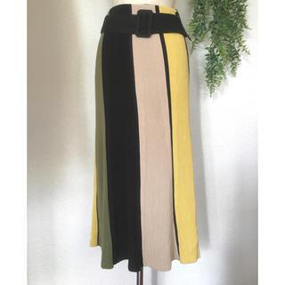 Mila Owen - ミラオーウェン ベルト付 ニットパネルフレアスカート