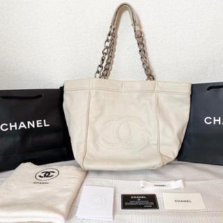 CHANEL - 【CHANEL】チェーン ショルダー バッグ ホワイト トート