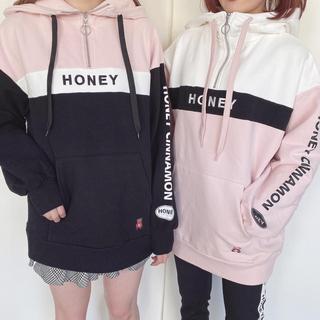 ハニーシナモン(Honey Cinnamon)のハニシナ ハーフジップパーカー ピンク ブラック(パーカー)
