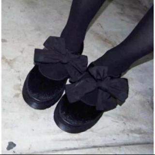 メリージェニー(merry jenny)のmerry jenny リボンシューズ ブラック(ローファー/革靴)