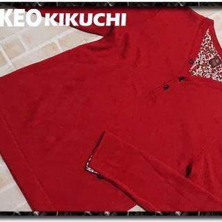 タケオキクチ(TAKEO KIKUCHI)のタケオキクチ Vヘンリーネックニットカットソー 赤(Tシャツ/カットソー(七分/長袖))