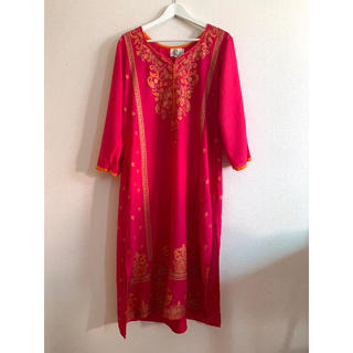 India froral print kaftan dress(ロングワンピース/マキシワンピース)