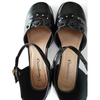 子供靴23cm フォーマル ローヒールフラワー 黒