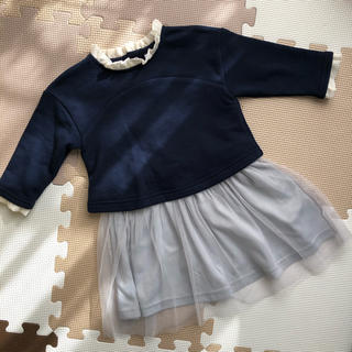 しまむら - 《新品未使用タグ付》チュールワンピース 襟付き サイズ90