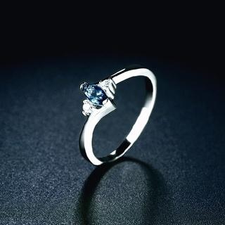 14号 ブルー ジルコニア ホワイトゴールドコーティング(リング(指輪))