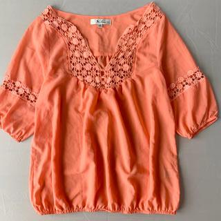 オレンジピンク ブラウス(シャツ/ブラウス(半袖/袖なし))