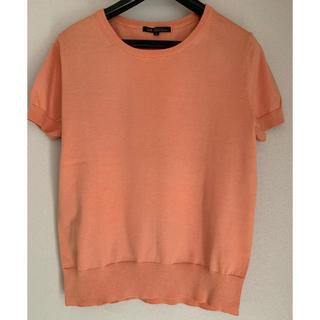 ニジュウサンク(23区)の23区 小さいサイズ コットン半袖ニット プルオーバー  オレンジ(ニット/セーター)