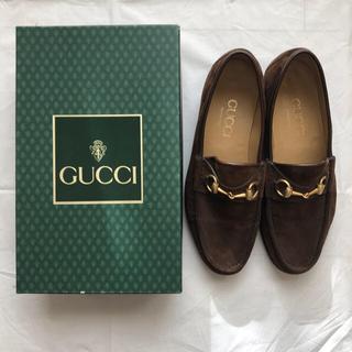 Gucci - 美品!GUCCI ビットローファー スエード ブラウン