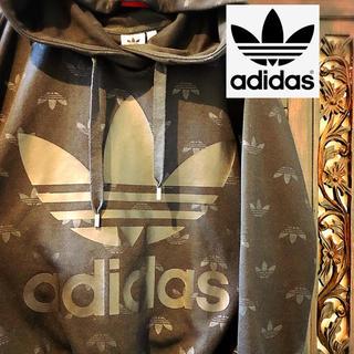 adidas - アディダス オリジナルス 黒 ロゴ 総柄スウェット トレーナー ジャージ ML