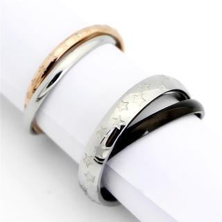 2連スターペアリング ステンレスリング ステンレス指輪 ピンキーリング(リング(指輪))