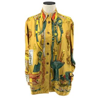 エルメス(Hermes)のHERMES☆ ヴィンテージ シルクシャツ ロゴ 長袖 キャメル ゴールド(シャツ/ブラウス(長袖/七分))