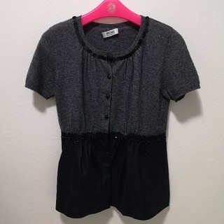 モスキーノ(MOSCHINO)のモスキーノ 半袖ニット切り替えデザイン(ニット/セーター)