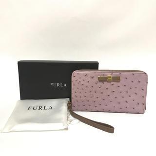Furla - 【未使用】FURLA 長財布 ラウンドファスナー オーストリッチ調 リボン