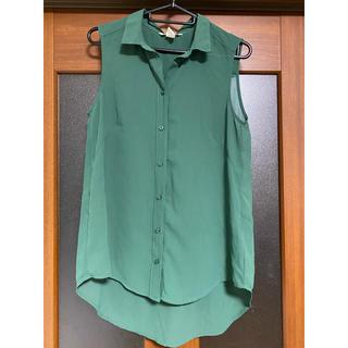 エイチアンドエム(H&M)の<美品> H&M ノースリーブシャツ ブラウス(シャツ/ブラウス(半袖/袖なし))