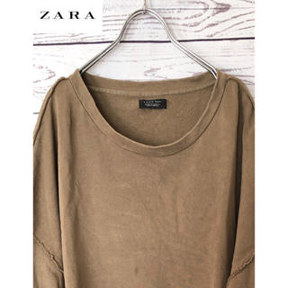 ZARA - ZARAザラ 七分袖ビッグシルエット裏毛スウェットTシャツ ベージュ XL