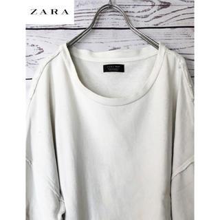 ZARA - ZARAザラ 七分袖ビッグシルエット裏毛スウェットTシャツ 白 XL