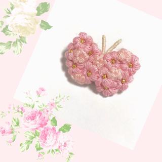 お花のちょうちょ*ブローチ〜桜ピンク(コサージュ/ブローチ)