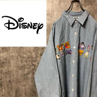 Disney - 【激レア】ディズニー☆くまのプーさんビッグキャラクター刺繍デニムシャツ 90s
