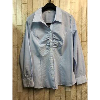 新品☆LL♪ブルー系の胸ギャザーストライプシャツ♪スーツに最適☆n997(シャツ/ブラウス(長袖/七分))