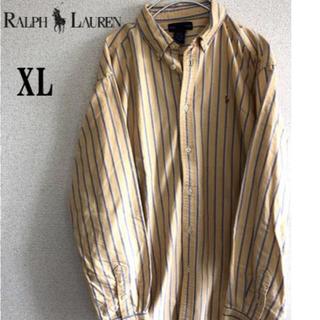 ポロラルフローレン(POLO RALPH LAUREN)の【ラルフローレン】 XL イエローストライプ長袖BDシャツ ビック (シャツ)