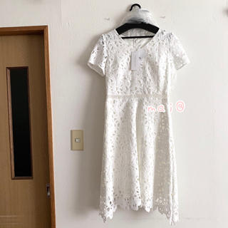 プロポーションボディドレッシング(PROPORTION BODY DRESSING)の新品未使用タグ付き‼︎ リボン ケミカルレースワンピース 白 ホワイト(ひざ丈ワンピース)