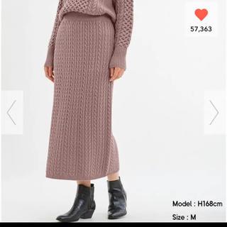 GU - 【新品、未使用】GU❤︎ ケーブルニットナロースカート パープル Mサイズ